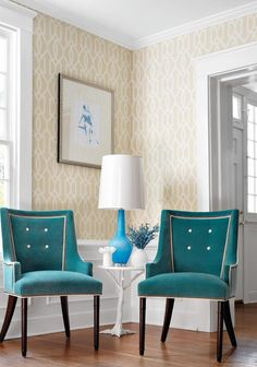 Elegant living room with Thibaut Downing Gate wallpaper adorned with framed portrait over white wainscoting. Easy Home Decor, Home Decor Trends, Decor Ideas, Living Room Decor, Bedroom Decor, Halls, House Of Turquoise, Turquoise Chair, Interior Design Boards
