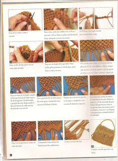 Colecao Arte facil Bolsas macrame - xteen handmade Macrame Bag, Macrame Tutorial, Purses And Bags, Knots, Diy And Crafts, Projects To Try, Weaving, Boho, Pattern