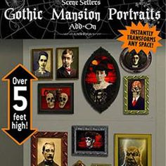 Two giant panels of images of gothic mansion portraits of some very scary people you would not really want to be related to. Portraits of skeletons faces, monsters and people from the dark side.