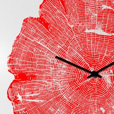 orologio-parete-design-wall-clock-tree-life-red
