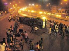 Chennai Ungal Kaiyil: Nearly 10 people injured as the bus turned over on its side on the MIT flyover near Chromepet! #citynews #chennaiungalkaiyil.  Velachery bus stand chennai, Tambaram bus stand chennai.