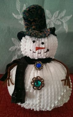 Vintage Handmade White Chenille Bedspread Snowman Christmas Holiday Decoration