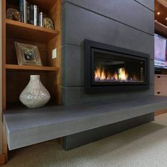 45 Modern Fireplace Ideas, Remodel, and Decor in Living Room Black Fireplace Mantels, Contemporary Fireplace Mantels, Fireplace Mantel Surrounds, Linear Fireplace, Painted Brick Fireplaces, Concrete Fireplace, Fireplace Hearth, Home Fireplace, Fireplace Remodel