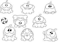 Om Nom Cut The Rope Coloring Pages Sketch Coloring Page Free Coloring Sheets, Printable Coloring Sheets, Coloring Pages For Kids, Cut The Ropes, Printable Pictures, Printable Stickers, Whimsical Art, Digital Stamps, Quilt Blocks