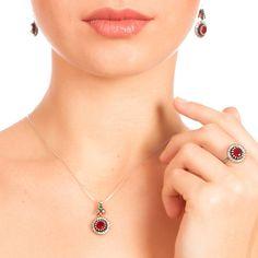 The Zerbap Râbi'â Şermî Jewelry Set with Zircon Ruby by Rosestyle, $51.00
