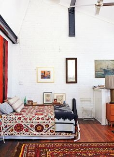 Mixed print bedroom (Pendleton blanket)