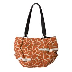 *Miche Canada* Say habari, the Swahili word for hello, to the wild yet feminine Gianna for Demi Miche Bags. Cream and orange giraffe-print canvas features double faux leather belt accents with silver buckle detailing. The pice de rsistance? Rich gold threading throughout the fabric means Gianna glistens like a setting African sun. Side pockets. Square bottom design.