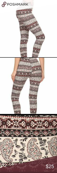 Boho Paisley Print Leggings S/M L/ XL (3:3) Paisley print poly brushed full length fitted leggings with high elastic waist. Super soft, stretchy and comfortable. Sizes S/M & L/XL 92% Polyester 8% Spandex Pants Leggings