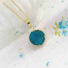 Druzy Crystal Turquoise Blue Necklace Genuine by roseylittlethings