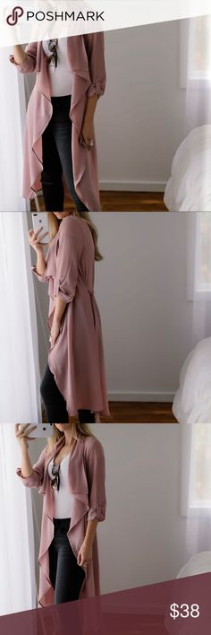 Back in! City Blush Duster ◽️Chic duster styles beautifully over so many Fall outfits. Flowy dressy material and adjustable tie waist. Color is a gorgeous dusty blush. Poly/spandex, well made, has stretch, and is a lighter soft weight. New. I am modeling S. Also available in Mocha. Wearing with my Rosé Jeans. Previously sold out in Black.   ▫️Price is firm▫️10% off bundles of 3+  Photos are my own 11thstreet Jackets & Coats