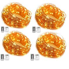 Witmoving Fairy Lights Battery Operated Waterproof 8 Modes 50 LED 164ft Copper Wire with Remote Control For Patio Bedroom Party 4 Pack Warm White * Want to know more, click on the image.-It is an affiliate link to Amazon. #WeddingGuestBook