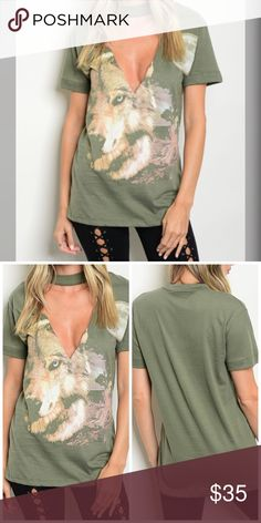 LAST ONE Amazing Olive Graphic Wolf Tunic! Short sleeve graphic tee with a deep v and choker neckline. Tops Tunics