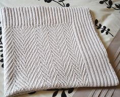 This is a great blanket for beginners. Easy to adjust the length or width. Would also make great cushion covers, or a scarf. The pattern also comes with a special little bunny for bub. The pictures blanket and bunny was knitted in double knit, light worsted yarn.