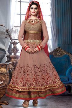 Brown Georgette, semi stictch churidar suit. Allover embroidered with embroidered, resham, zari and stone work.  V neck , Below knee length , full sleeves kameez.   Maroon santoon churidar .   Maroon chiffon dupatta with lace border with work.  http://www.andaazfashion.com/salwar-kameez/churidar-suits/view/new-arrival-churidar-suits