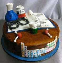 Awww I want this cake! Cake Bake Shop, No Bake Cake, Pretty Cakes, Cute Cakes, Chemistry Cake, Science Cake, Science Party, Teacher Cakes, Retirement Cakes