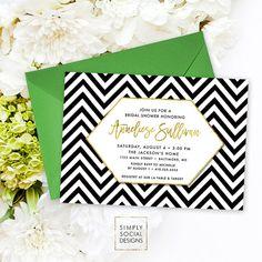 Chevron Bridal Shower Invitation - Faux Gold Foil Classy Black and White Chevron Modern Calligraphy Geometric Invite Printable