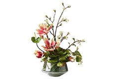 Magnolia & Liles in Glass Vase
