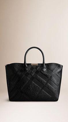 Black Medium Embossed Check Leather Tote Bag - Image 1