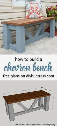 Diy Furniture Plans, Diy Bench, Wood Diy, Diy Furniture Projects, Wooden Chevrons, Woodworking Furniture Plans, Fine Woodworking Furniture, Wooden Diy, Diy Outdoor Furniture Plans
