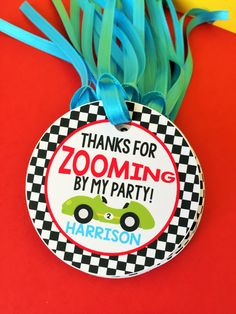 Race Car Birthday Party Personalized Favor Tags, Thank You Tags, Treat Tags, Goody Bags,  Party Favors, Party Decorations, Set of 12 by sweetheartpartyshop on Etsy https://www.etsy.com/listing/265960240/race-car-birthday-party-personalized