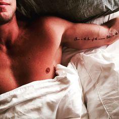 Men's tattoo script inner arm