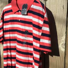 NWT MANS SHORT SLEEVE KNIT STRIPED SHIRT 100% cotton knit shirt is coral, navy and white stripes. St. John's Bay Shirts Tees - Short Sleeve