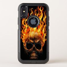 Gothic Skull Yellow Orange Fire Flames Pattern OtterBox Commuter iPhone X Case - trendy gifts cool gift ideas customize
