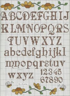 """Alfabeto """"Alphabet chart for tapestry crochet. Cross Stitch Letter Patterns, Cross Stitch Numbers, Cross Stitch Letters, Cross Stitch Baby, Cross Stitch Samplers, Cross Stitch Charts, Cross Stitch Designs, Cross Stitching, Cross Stitch Embroidery"""