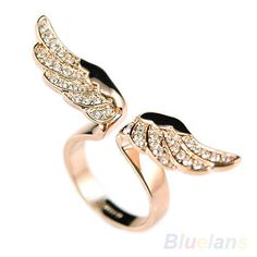 Sizable-Vintage-Angel-Wing-Gold-Plated-Crystal-Rhinestone-Ring-for-Lovers-B52U