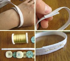Elastic Bracelets...these are made with buttons, but I'd like to do one with homemade cabachons.