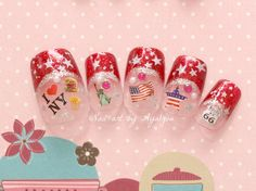 Japanese nail art, red french tips, America, USA, funny nails
