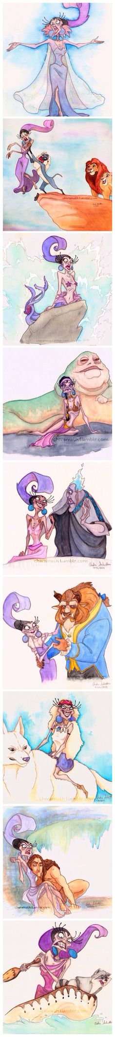 Yzma as Disney Princesses! Best thing ever.