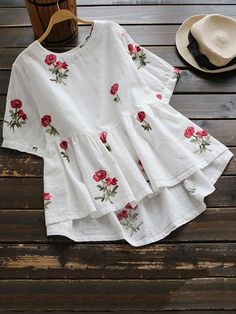 Sweet Floral Embroidery Low Blouse Shirt Women Ladies Short Sleeve White Tops O-Neck Casual Cute Blouse Blusas Cute Blouses, Shirt Blouses, Blouses For Women, Cheap Blouses, Blouse Styles, Blouse Designs, Frill Blouse, Embroidered Blouse, Linen Blouse