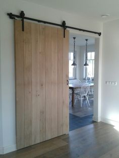 slider in entry to living room? painted white, not wood, slider in entry to living room? painted white, not wood. Interior Barn Doors, Interior And Exterior, Barn Style Doors, Room Paint, Sliding Doors, New Homes, House Styles, Interior Livingroom, Kitchen Interior