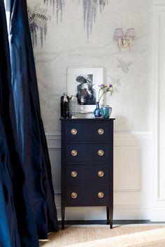 Windsor Smith Home: Blue living room design with bold blue silk drapes, navy blue chest dresser with brass . Navy Blue Dresser, Gold Dresser, Narrow Dresser, Ikea Dresser, Chest Dresser, Navy Blue Curtains, Navy Curtains Bedroom, Indigo Bedroom, Silver Bedroom