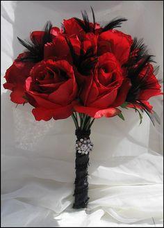 Elegant Red Rose and Black Feather Scented Bridal Bouquet by gardensidestudio, via Flickr - hollywood vintage