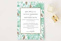 """""""Watercolor Delight"""" - Floral & Botanical Foil-pressed Wedding Invitations in Aqua by Petra Kern."""