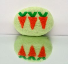Pea Green Felted Soap Chevron Carrots Earth Day Friendly Handmade Shea White Tea Ginger Geometric