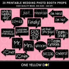 INSTANT DOWNLOAD  Wedding Photo Booth Props by OneYellowDot, $8.00