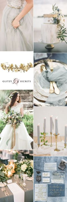 A romantic grey and gold wedding theme combining sultry tones with metallics for a luxurious yet chic color combination