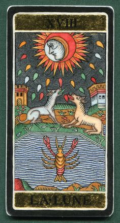 The Moon - Alexander Andreev's Silver & Gold Tarot. This card symbolizes one of the stages of the Fool's Journey towards self-discovery. The Fool stands for all of us. Sun And Moon Tarot, The Moon Tarot Card, Tarot Card Tattoo, Tarot Major Arcana, Daily Tarot, Tarot Card Meanings, Cartomancy, Tarot Card Decks, Sun And Stars