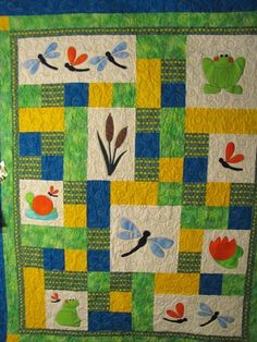 PATTERN - PDF - Baby Quilt - child - throw - quilt - frog - dragonfly - boy - girl. $5.95, via Etsy.