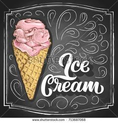 Hand-drawn strawberry ice cream in cone colorful sketch with hand lettering slogan on black chalkboard background. Vintage vector illustration.