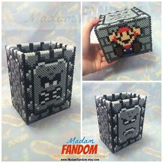 Thwomp from Super Mario Bros (the dungeon brick that got mad and fell on you when you walked under him). There's a sleeping Thwomp on one side, an angry Thwomp on the other, and oops! A smashed Mario on the bottom :D. Available from MadamFANDOM by MadamFANDOM *This pixel/bead box was designed & created by #MadamFANDOM *