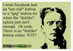 I wish Facebook had an eye roll button or a gag button for  when the dislike option just isn't enough.  Oh yeah. There is no dislike button either. WTF?