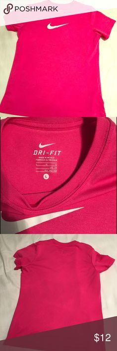 Girls Nike dry fit shirt youth large Girls youth large. Hot pink dry fit shirt. Perfect condition. Very cute Nike Shirts & Tops Tees - Short Sleeve