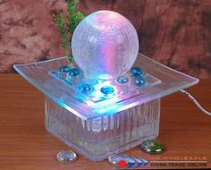 Tabletop Fountain, Water Fountains, Porch Ideas, Glass Table, Snow Globes, Room Decor, Garden, Water Sources, Fuentes De Agua