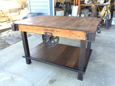 kitchen islands made from industrial carts | custom made kitchen