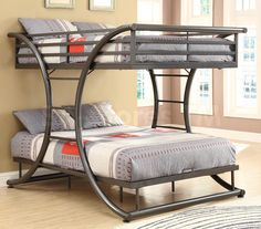 Gun Metal Full Over Full Size Bunk Bed | Bunk Beds COA-460078/7