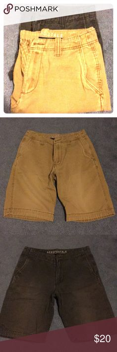 New Condition: Aeropostale Shorts- Great for Teens -Casual, flat-front Aeropostale Shorts -100% Cotton, designed in NYC -Kaki and charcoal grey  -Although a 28 waist is listed, it's actually a 27 - great for teens or small men  -Good condition, slight fading on the grey shorts  -Pet and smoke-free home Aeropostale Shorts Flat Front